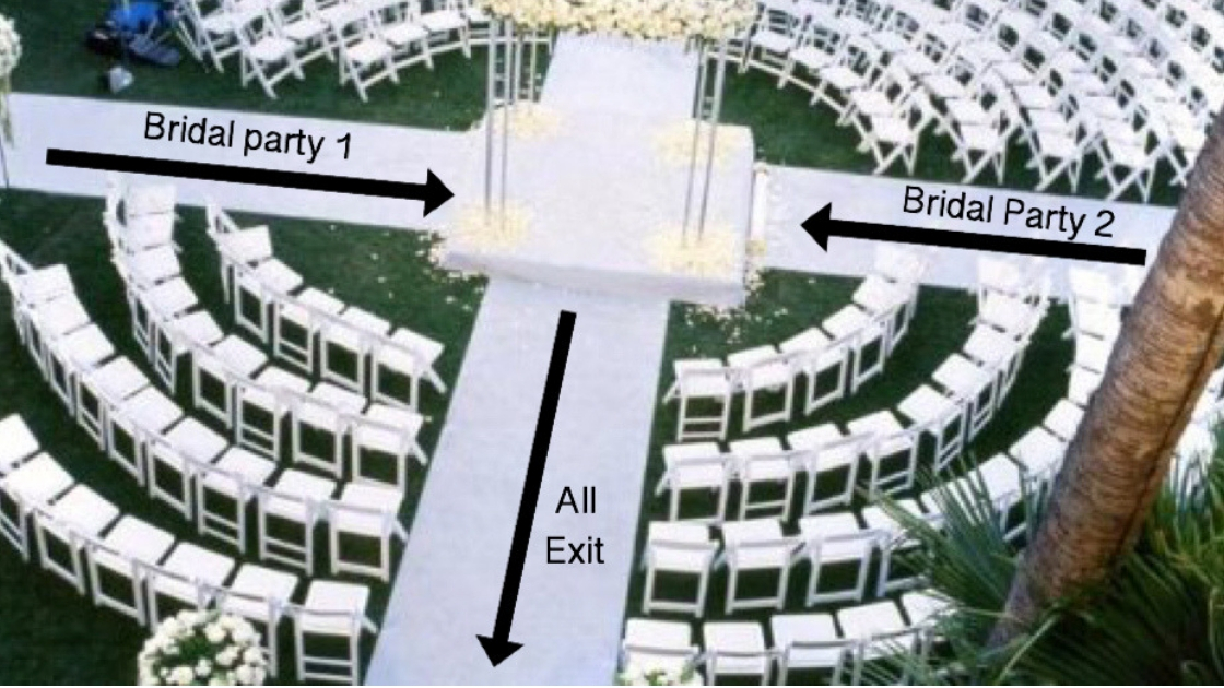 Two brides are better than 1 entrance to wedding ceremony multiple aisles on wedding day