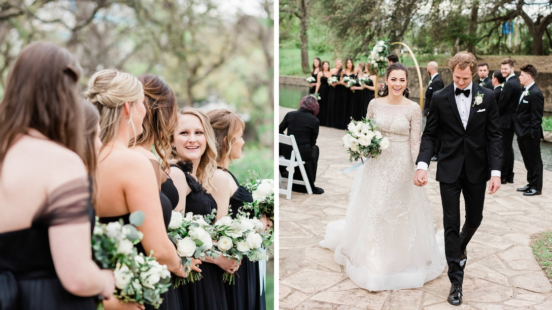 6 bridesmaids standing at alter in black tie tulle and chiffon dresses bride and groom walking back down the aisle after marriage and wedding saying I do