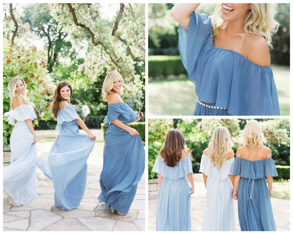 Off the shoulder bridesmaid dress in shades of blues. Bridesmaids twirling in garden with sparkling belts and long beautiful curls.