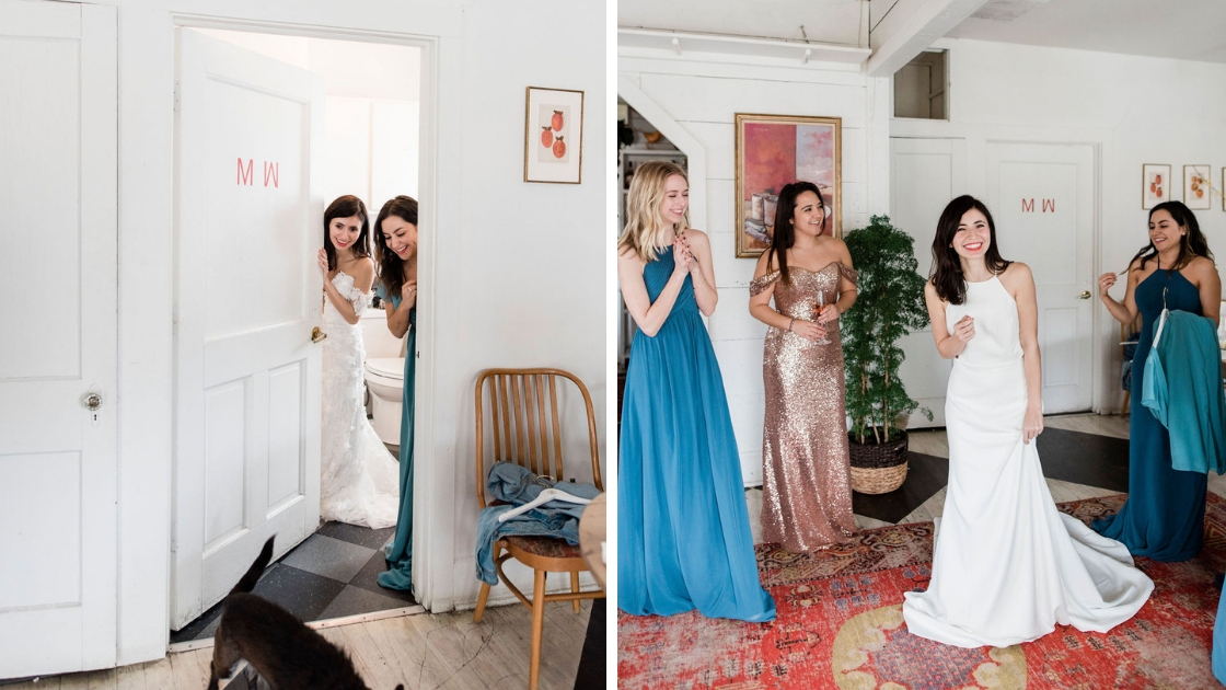 Adriana bridal gown try-on party shw brides and best friends at austin dog blue gold and navy