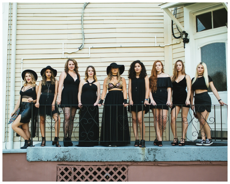 Rachel Varina and her bridesmaids wear black and dress as coven witches for her Nola bachelorette party