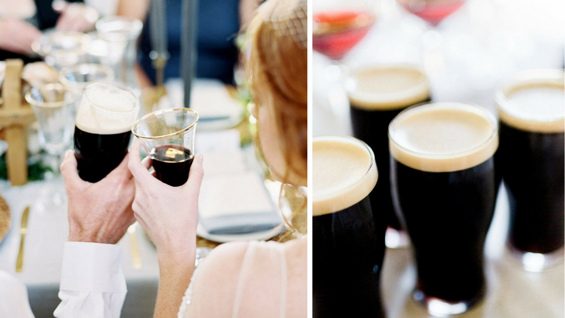 bride and groom sharing a pint for European and United Kingdom Wedding