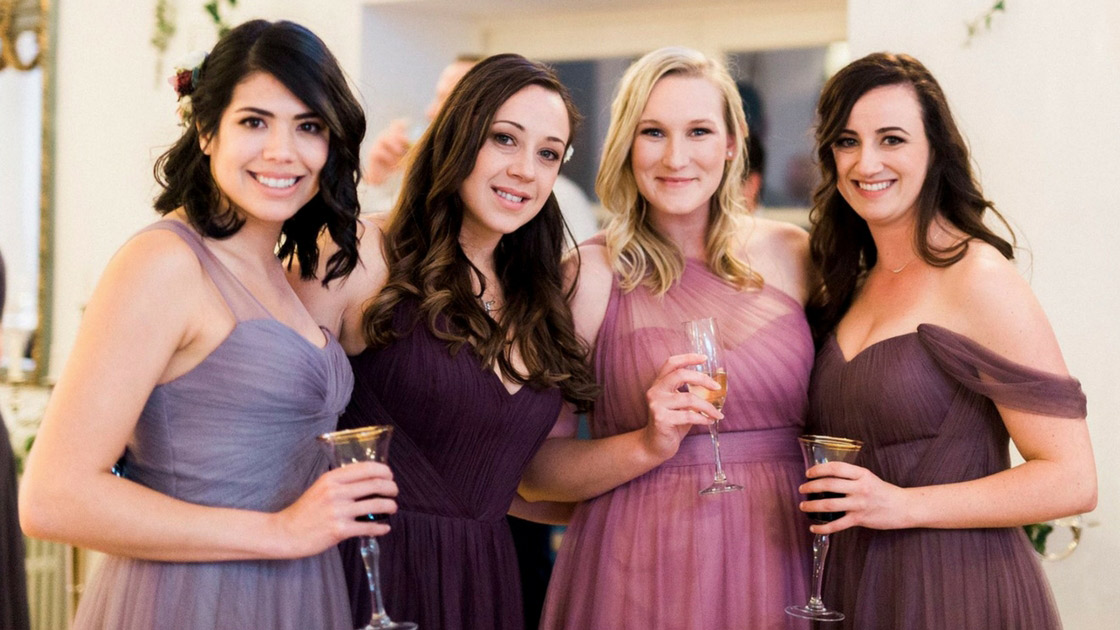 Irish Destination Wedding with mix and match purples and berries Tulle Revelry Bridesmaid Dresses