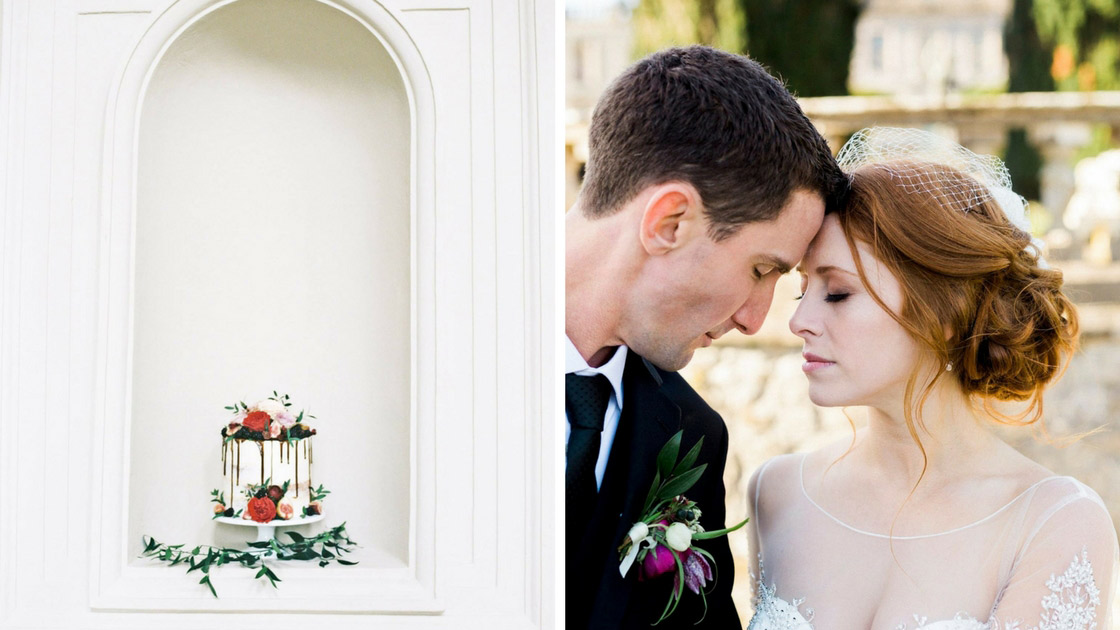 bride and groom in gorgeous photo with cakes and wedding details