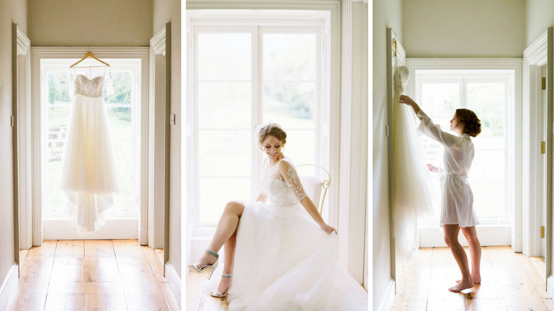 bride posing in white and bright window getting ready for the wedding ceremony.