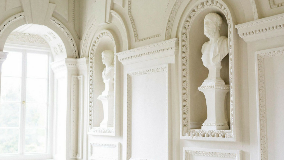 gorgeous destination estate venue with white marble busts in Ireland