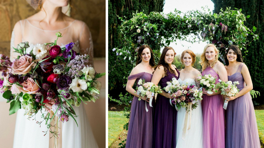 Irish Destination Wedding with mix and match purple Tulle Revelry Bridesmaid Dresses