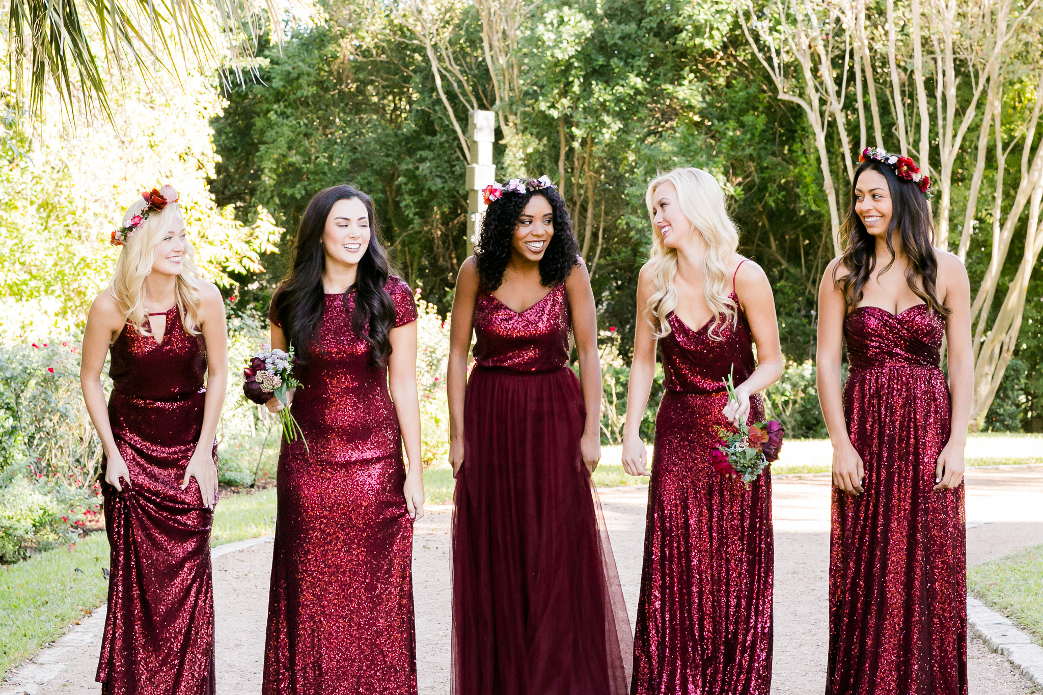 Cabernet sequin bridesmaid dresses are an unexpected fall wedding look that is sure to surprise.