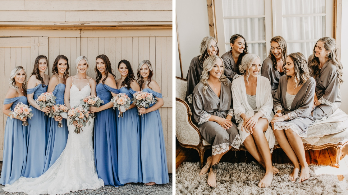 Beautiful blonde bride 6 bridesmaids in robes and blue revelry bridesmaid dresses on wedding day