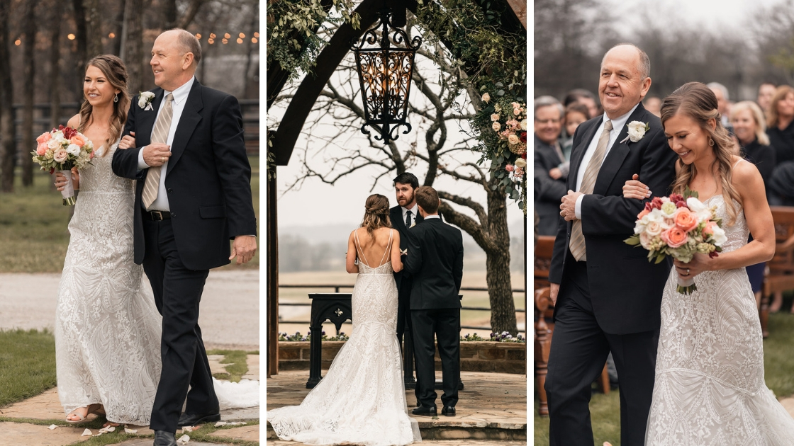 beautiful bride in decklyn wedding dress walks down aisle with father at texas outdoor wedding venue holding pink and blush flowers
