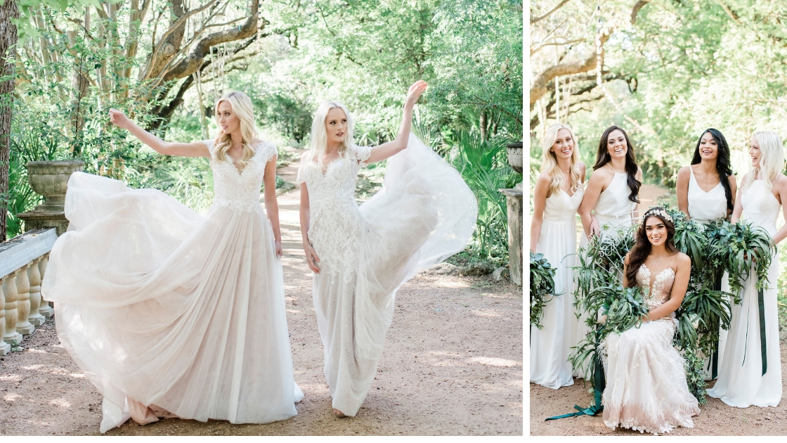 beautiful brides in chiffon revelry bridesmaid dresses float in the forest bridesmaids in white dresses holding greenery