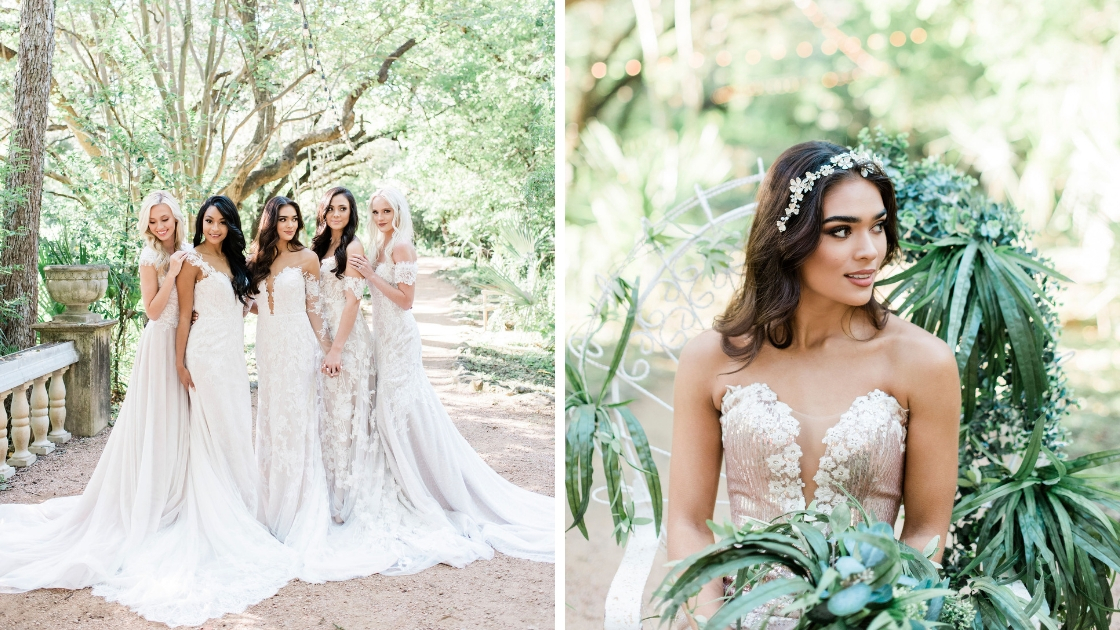 Beautiful brides in flowing revelry wedding dresses post in laguna gloria rose gold sequin dress greenery beautiful