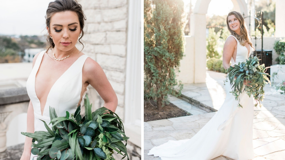 Beautiful brides in lyra wedding dresses deep v neck golding greenery smiling and posing in the sun wedding dress