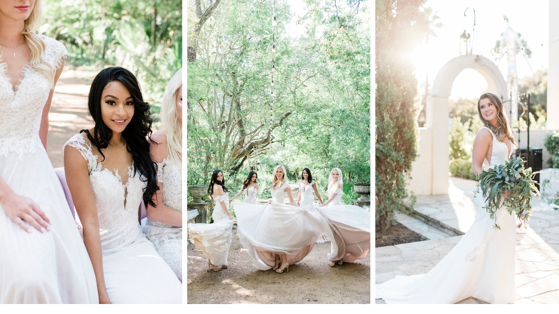 Beautiful brides in revelry wedding dresses post at laguna glorida in austin texas skin and hold bouquets in the sunlight