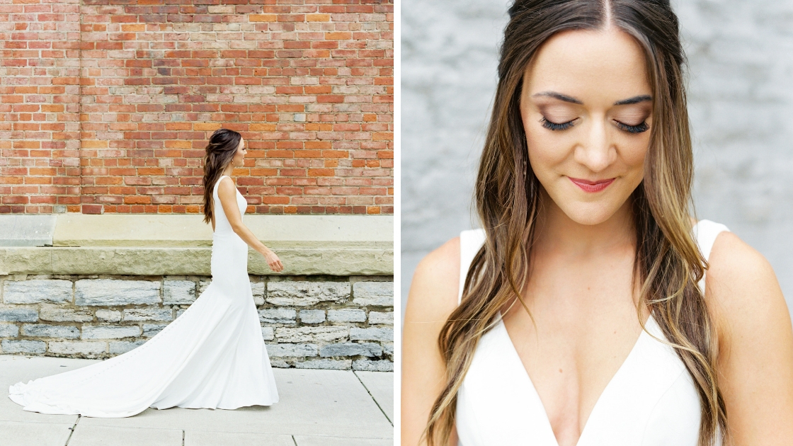 Beautiful brunette white bridal gown plunging dress white gown with long flowing train