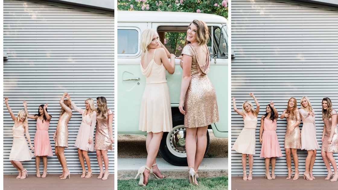 best friends dancing and celebrating wearing cocktail dresses in sequin looks with low backs and timeless style
