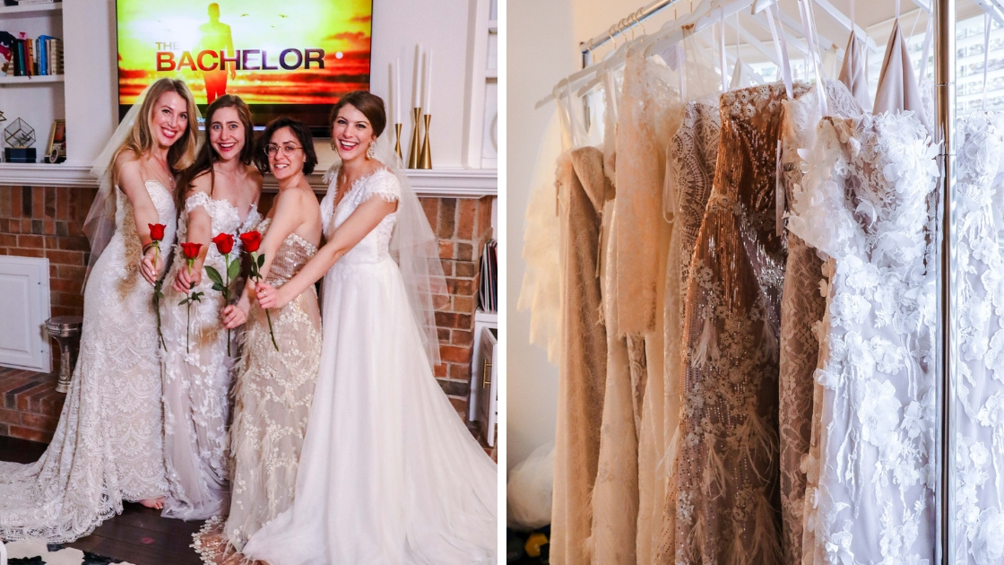 Best friends in Revelry wedding dresses smile and pose for pictures Bachelor finale and rack shots