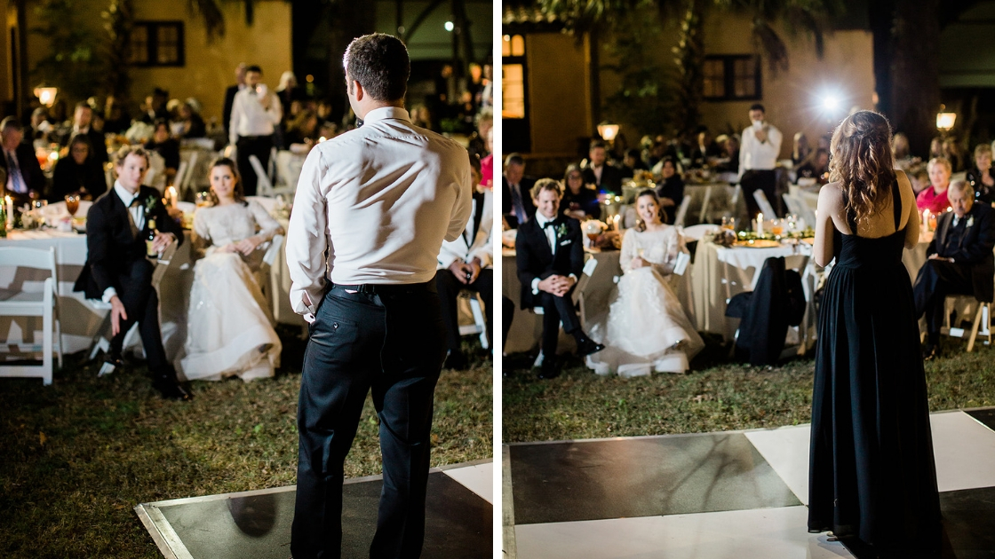 Best man and maid of honor in black tie outfits toasts and tell stories on wedding day at outdoor reception black and white dance floor