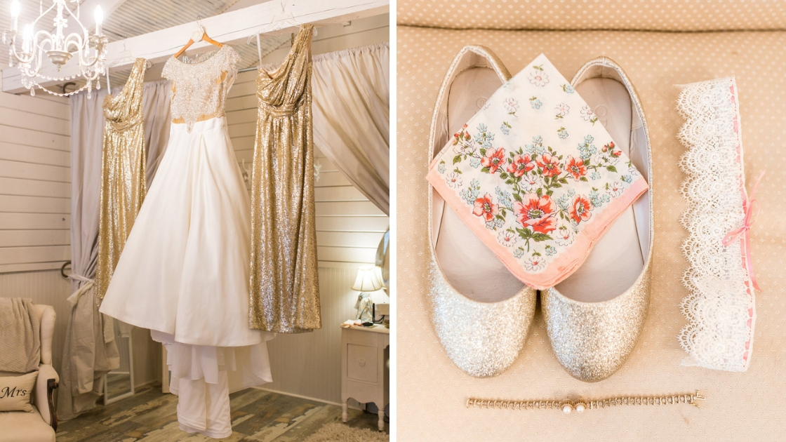 Wedding dress and Starla gold sequin dress hanging up in doorway with detail shots of shoes and bracelet