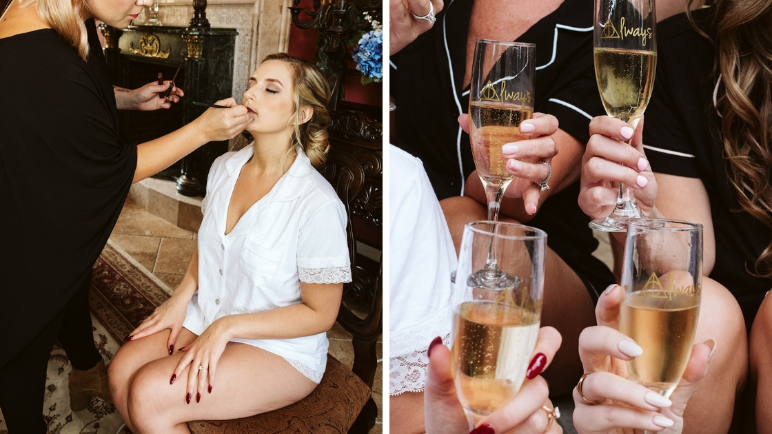 Blonde bride getting ready on wedding day with champagne flutes and sparkling wine