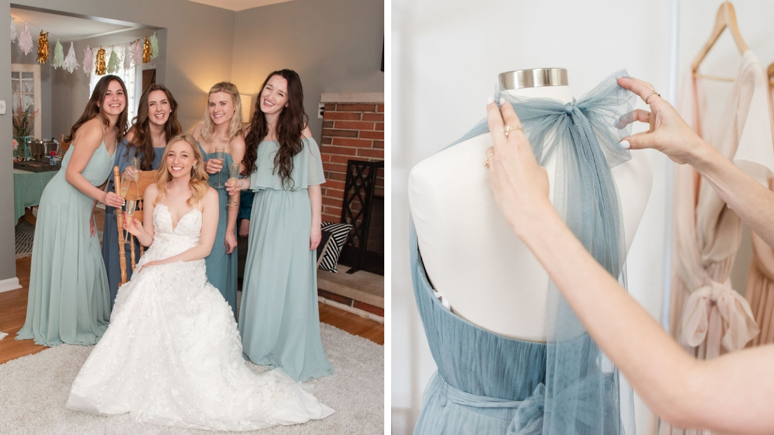 Blonde bride in aurora bridal gown lace white dress four bridesmaids in blue and green chiffon dresses blue tulle bow dress tie halter