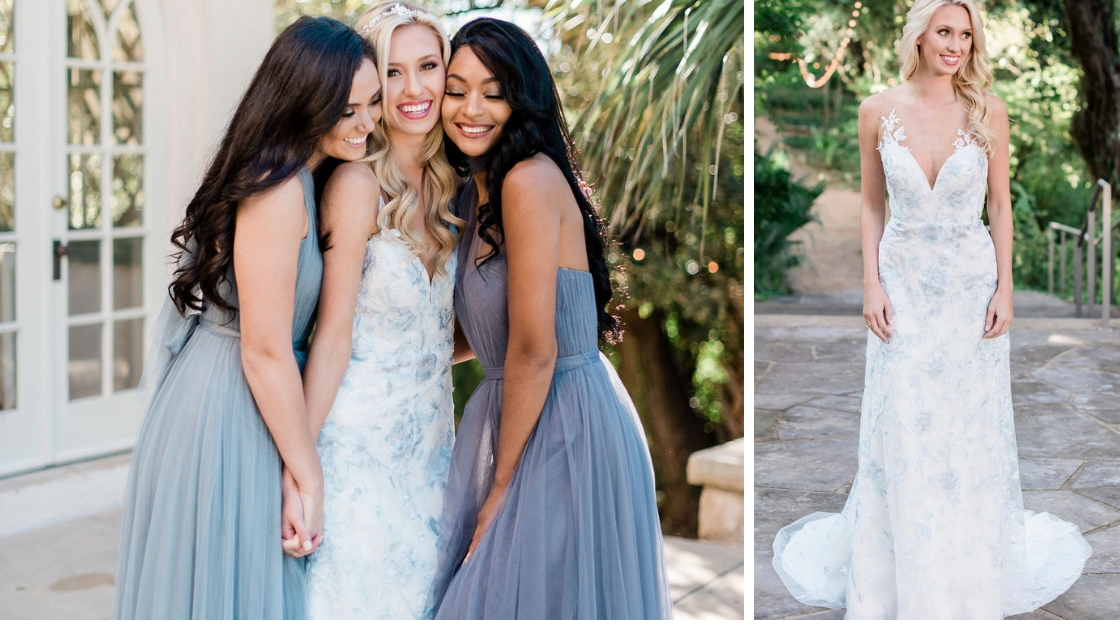 Blonde bride in blue wedding dress revelry bridal dress posing with her best friends and bridesmaids all in tule rosalie blue bridesmaid dresses