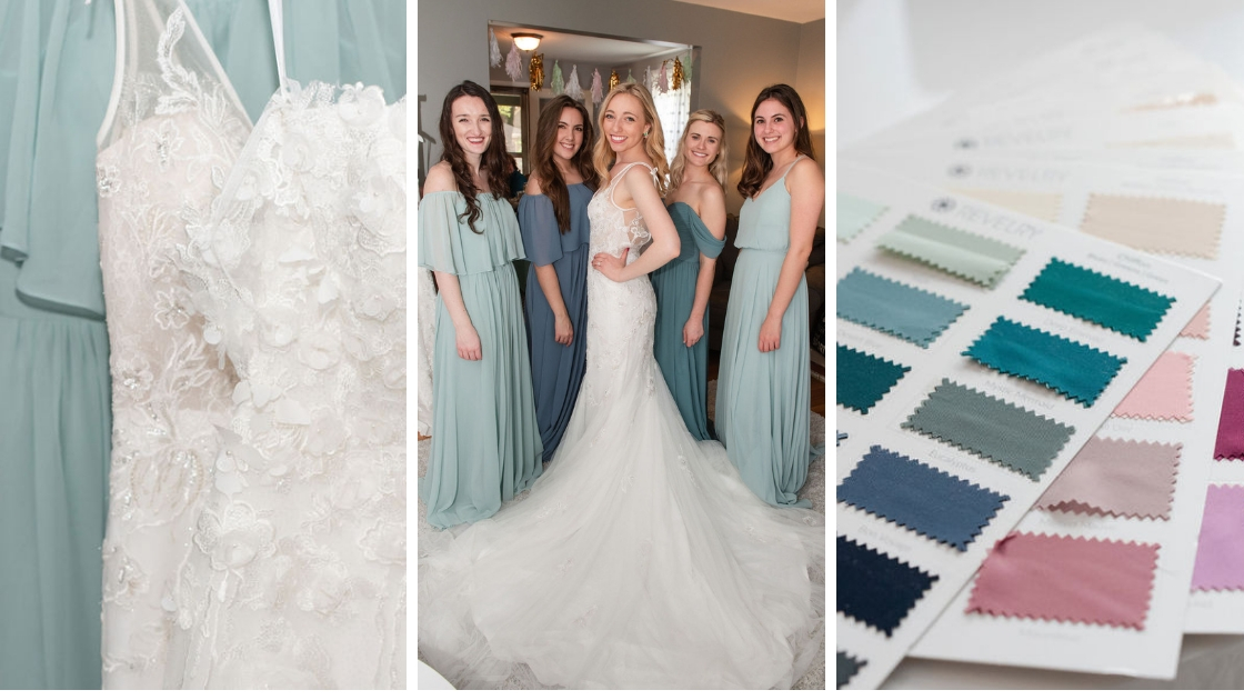 Blonde bride in mona bridal gown wedding dress four bridesmaids in chiffon blue dresses close up of bridal gown on sky blue chiffon bridesmaid dress blue and green revelry swatches