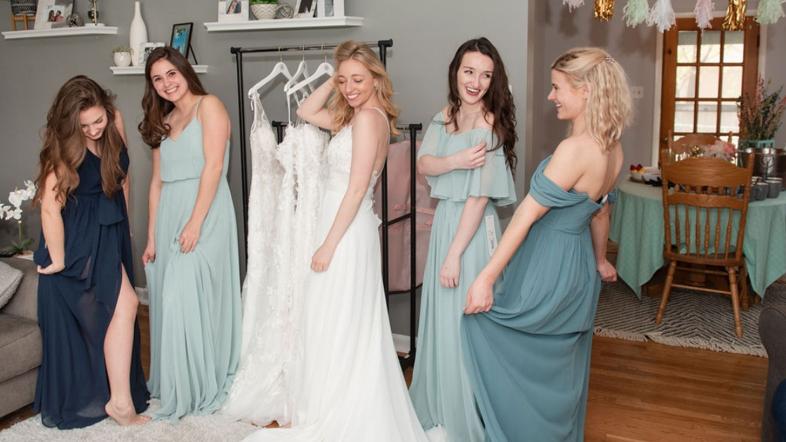 Blonde bride white wedding dress wedding dress four chiffon bridesmaid blue ombre chiffon dresses at house dining table kitchen