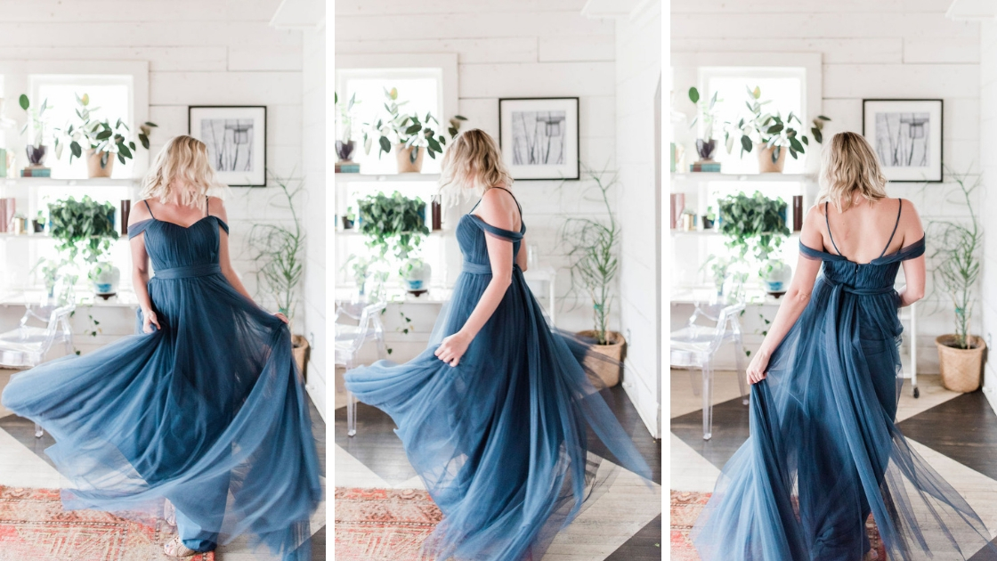 blonde bridesmaid in austin texas boho venue in blue rosalie convertible tulle dress spinning in three different pictures