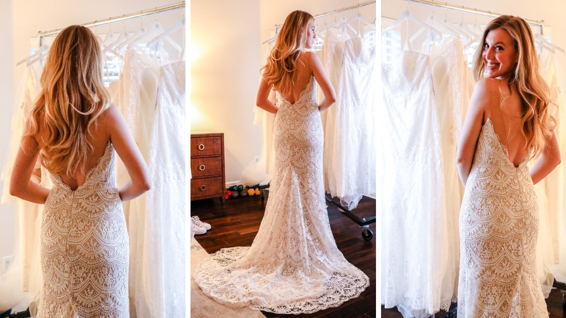 Blonde girl in lace art deco wedding dress low back illusion train scallop back