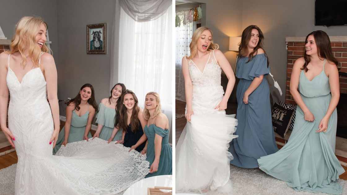Blonde revelry finally the bride raden mona bridal gown. bridesmaidsn in green and blue and mint chiffon dresses off the shoulder dresses