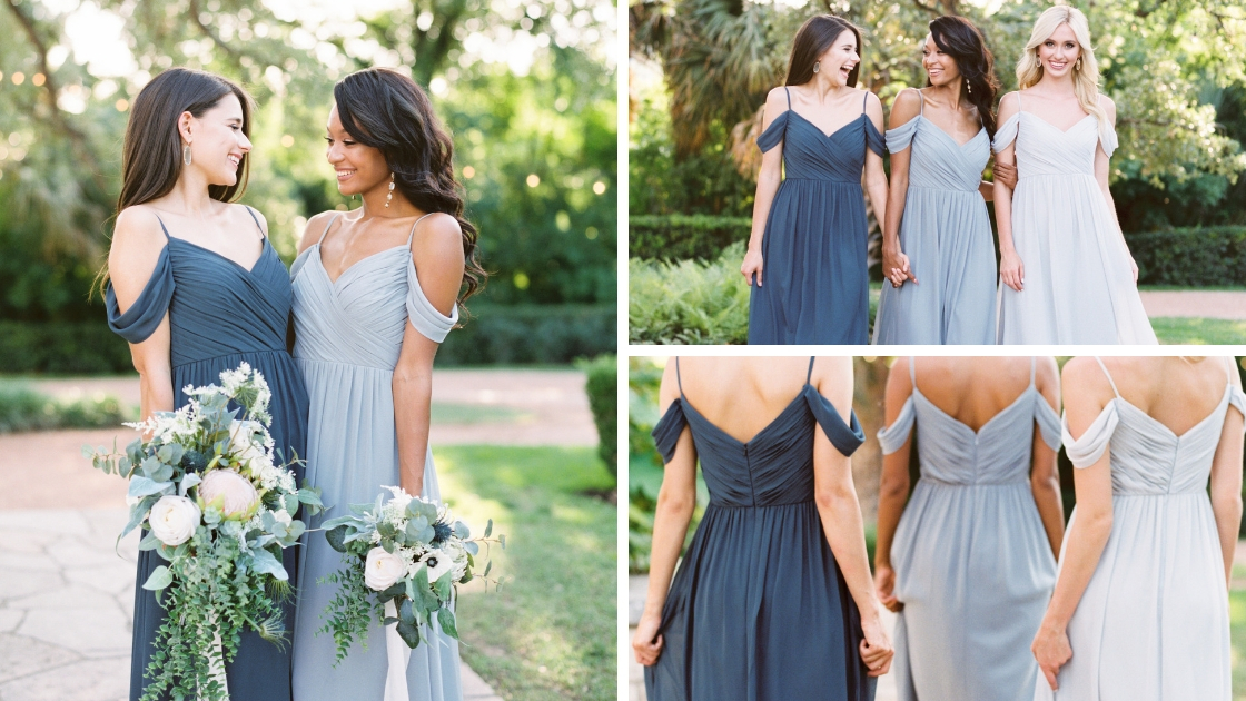 Bridesmaids in blue and grey revelry chiffon dresses smile and laugh at event