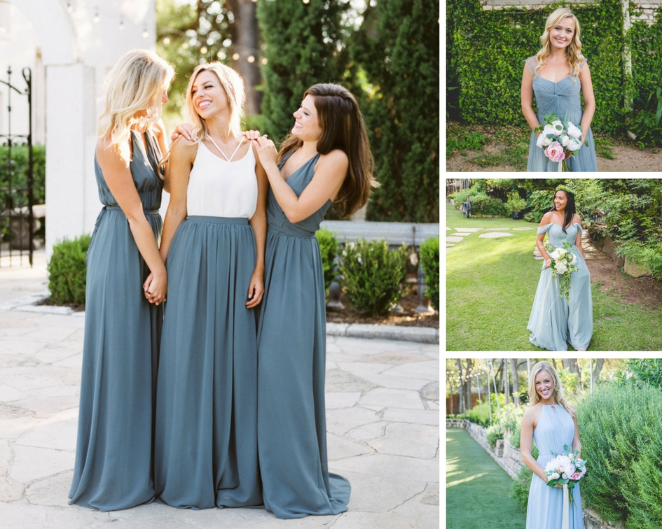 eucalyptus bridesmaid wrap dresses and chiffon skirt highlighting the versatile bridesmaid dresses from Revelry. Blue tulle dresses with peonies bouquets.