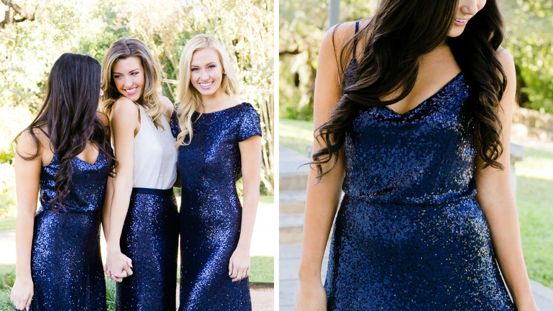 blue navy sequins girls in different sparkling outfits smile and laugh and celebrate the new year together