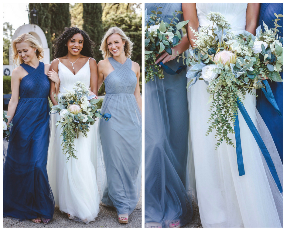 highneck tulle style with flowing skirt in the most flattering shades of blue!