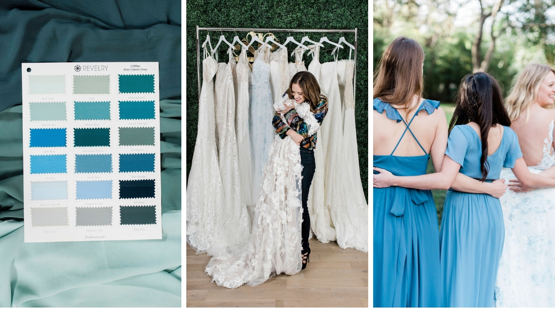 Blues swatches chiffon colors Michelle bridal gown wedding dress blue back dresses blue gown revelry