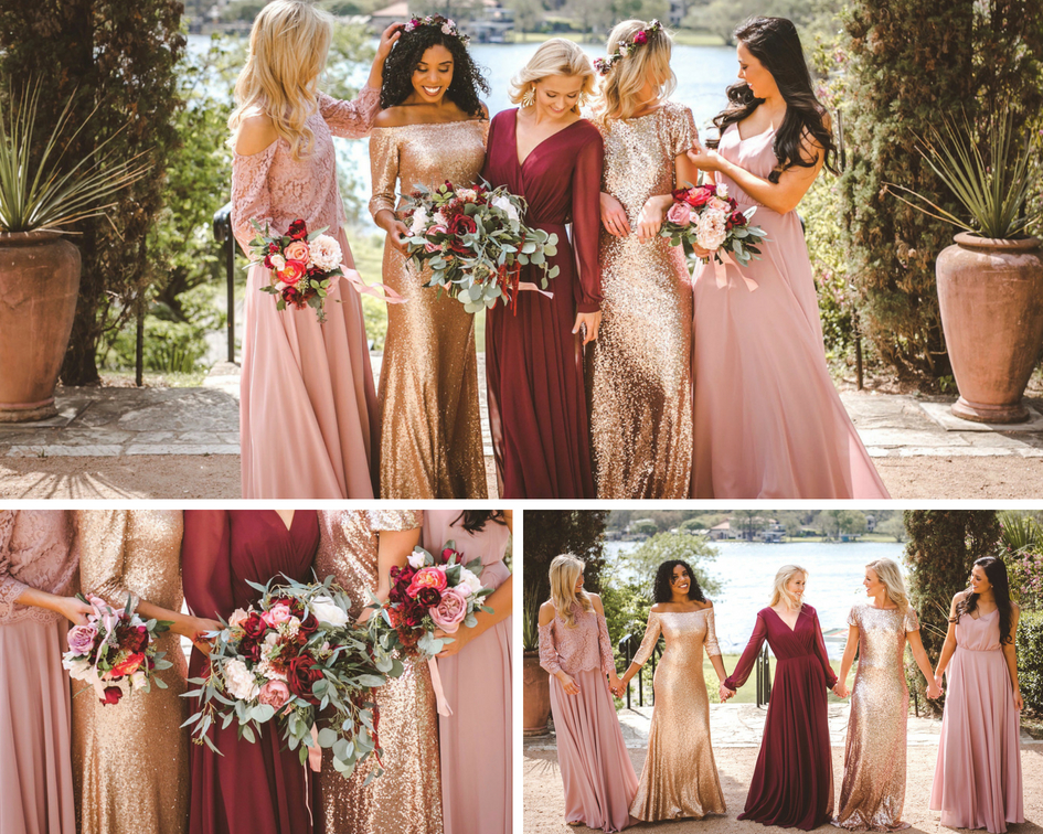 Mix and Match chiffon and sequin dresses in burgundy, rose quartz, and rose gold sequins. mix and matched perfection from Revelry Bridesmaid.
