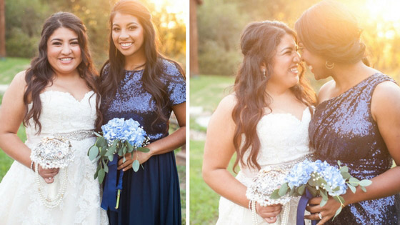 bridesmaids pose with bride in revelry sequin bandie top and starla dress