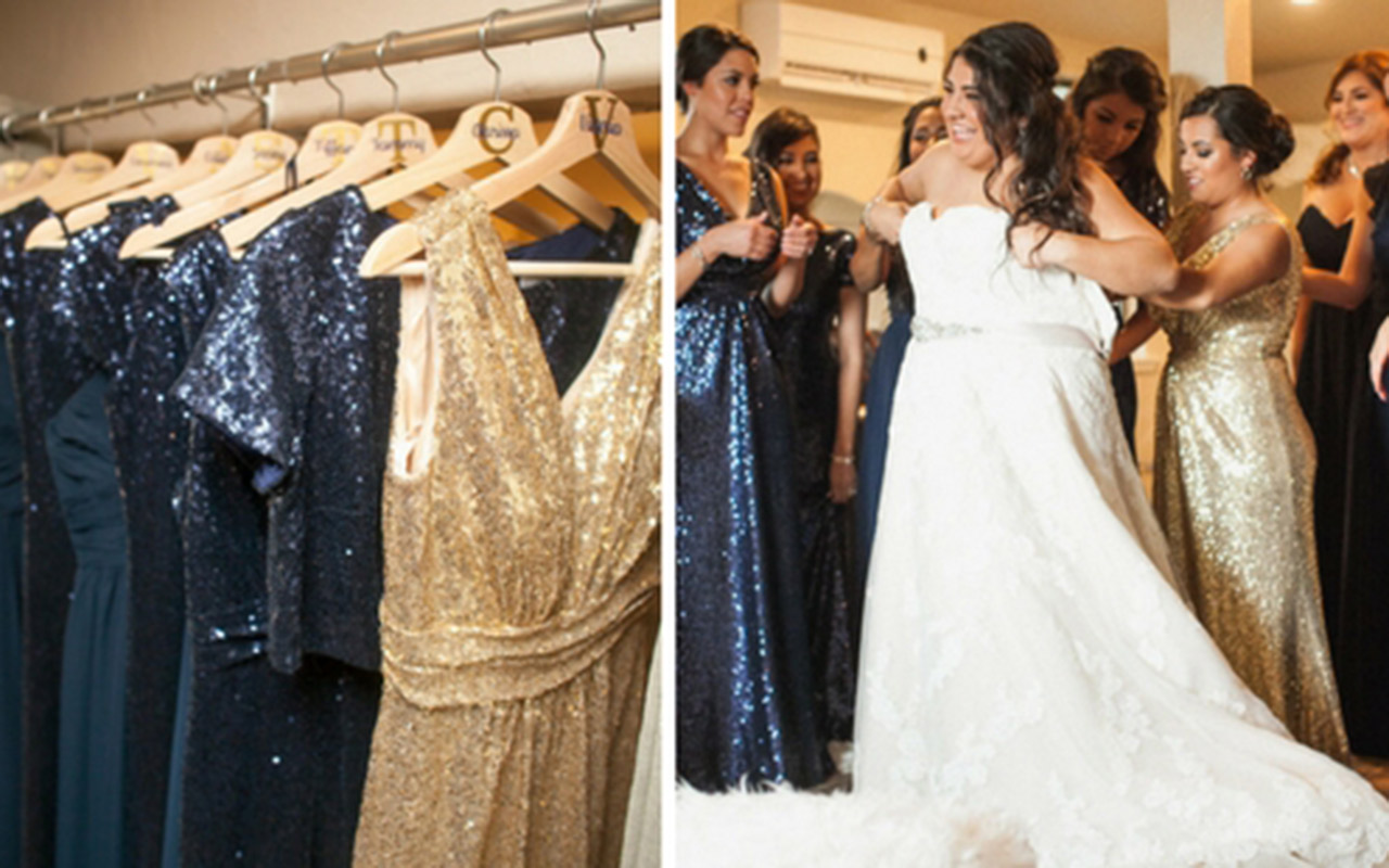 Mix and Match Sequin Dresses and Getting Ready Photo of Real Reverly Wedding