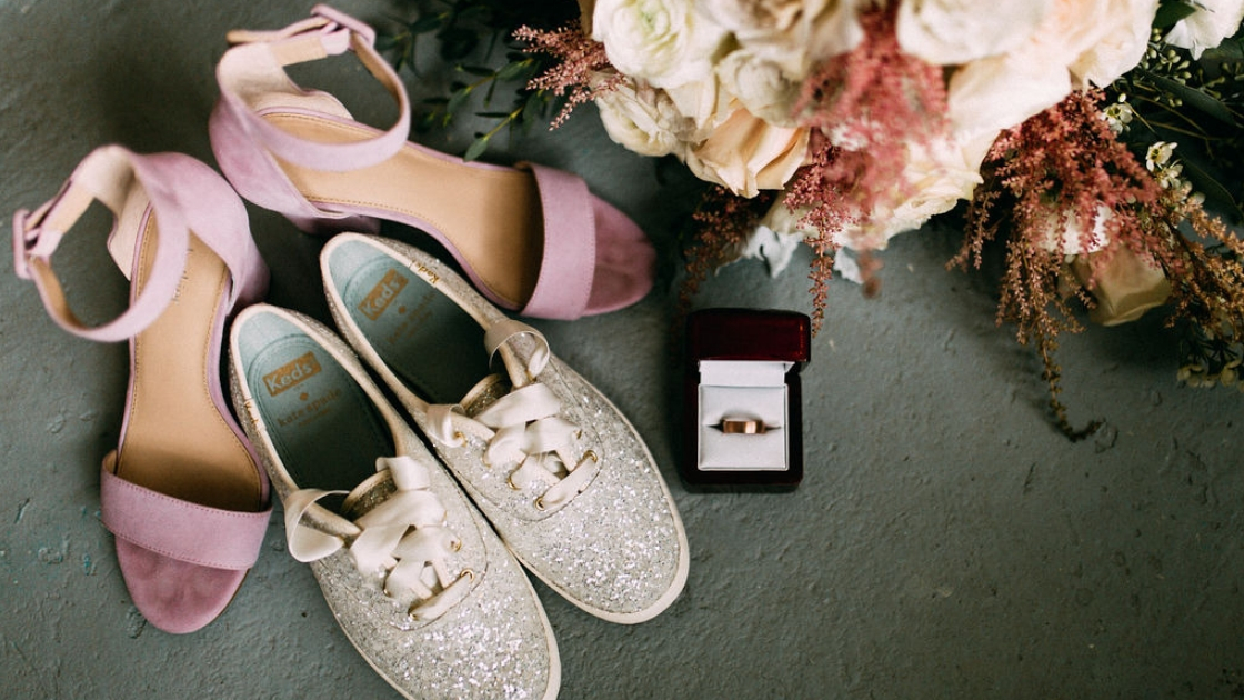 Bridal details pink shoes sparkly kate spade silver keds detail shots grooms ring and bouquet flowers