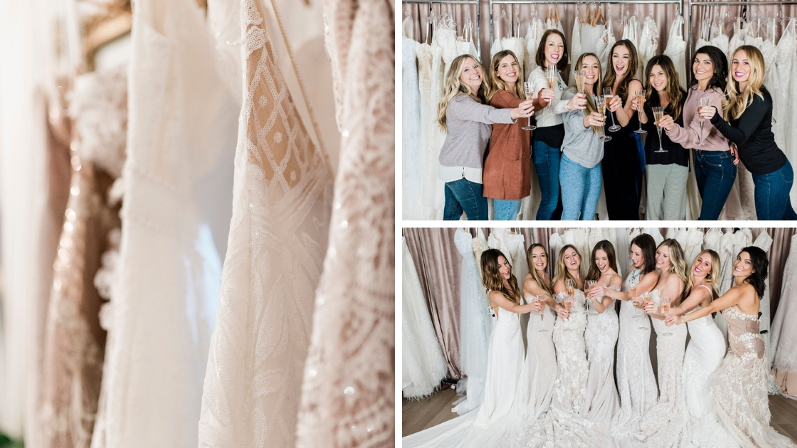 Bridal dresses Revelry wedding dresses detail rack shot sequin art deco detail michelles besties posing in dresses