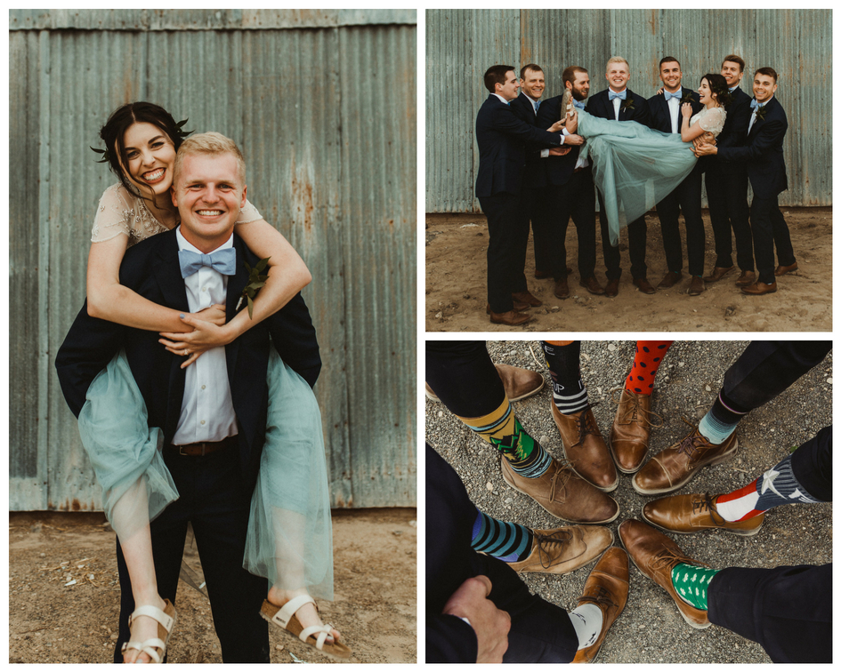 Bride piggyback on brother groomsmen holding her and wearing fun socks