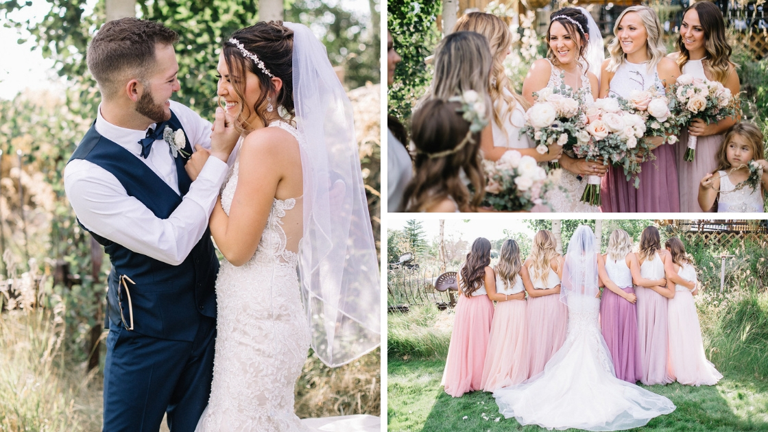 Bridal party smiling in blush Revelry as bride and groom smile and laugh in wedding dress at venue in pink
