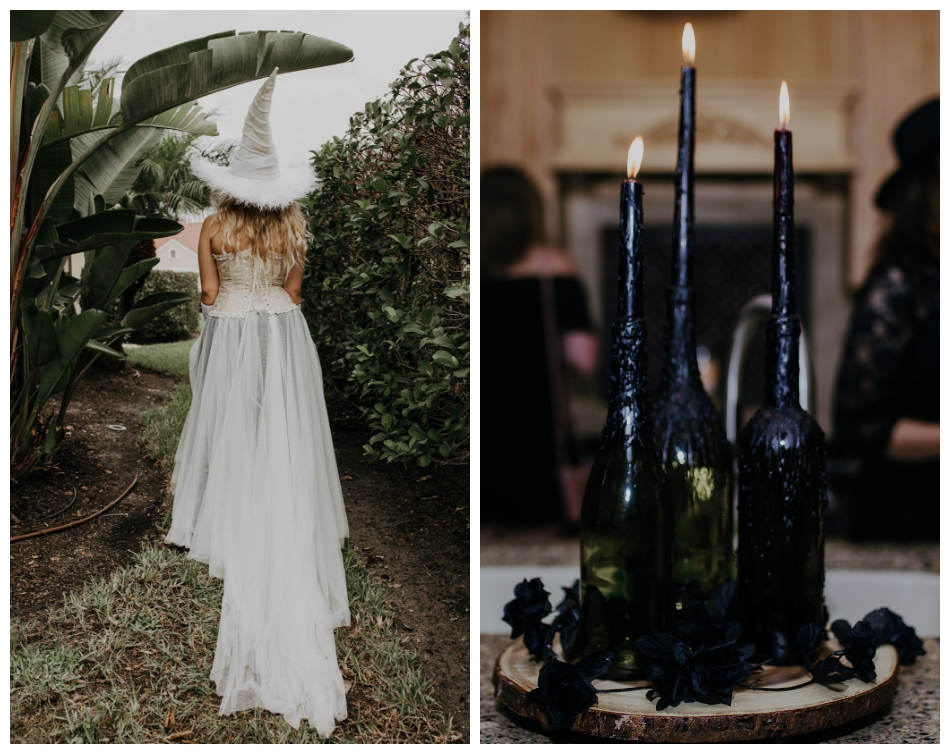White witch bride with hat walks around outside in skylar tulle skirt and wine bottles with black candles decorate the harry potter bridal shower