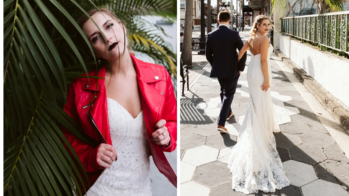 bridal portorate in red michael jackson thriller jacket and walking down the road with groom