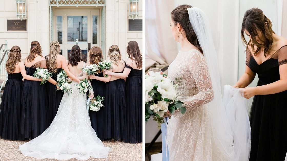 Bride and bridesmaids in tulle and chiffon black tie revelry dresses bride getting wedding dress and veil ready on wedding day bridesmaid helping