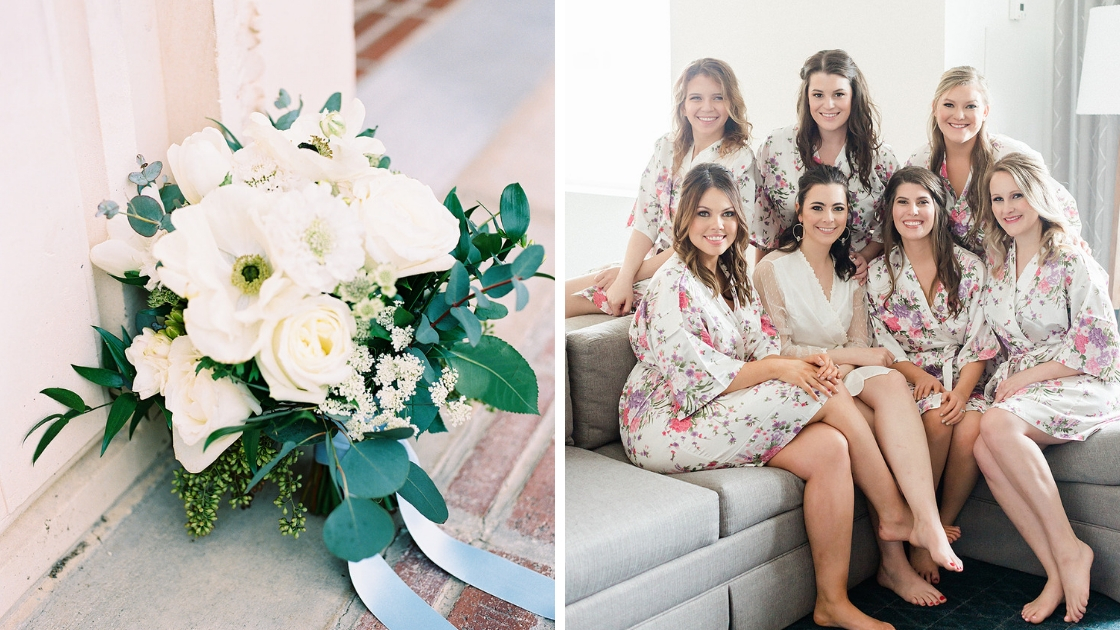 Bride and bridesmaids in white gauzy wedding robes getting ready on wedding day 6 bridesmaids and white and green floral bouquet with blue ribbon