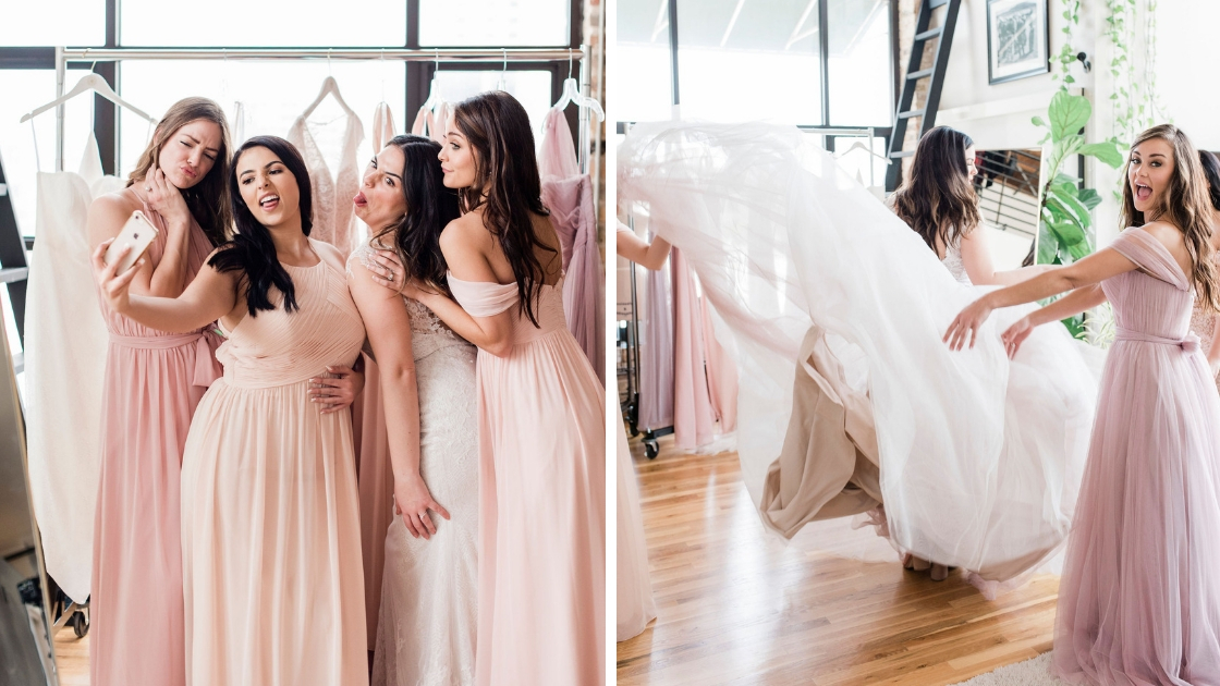 Bride and bridesmaids making ugly silly faces for selfie on phine in revelry bridesmaid and bridal wedding dress pink and blush bridesmaid being goofy with bridal train throwing it up