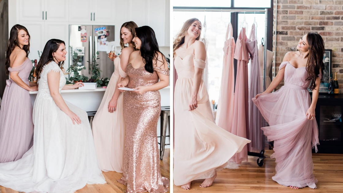 Bride and bridesmaids sitting in kitchen drinking and laughing looking at different swatches wedding look bridal gowns dancing in tulle and chiffon pink dresses sitting and drinking at Revelry Try-On Party
