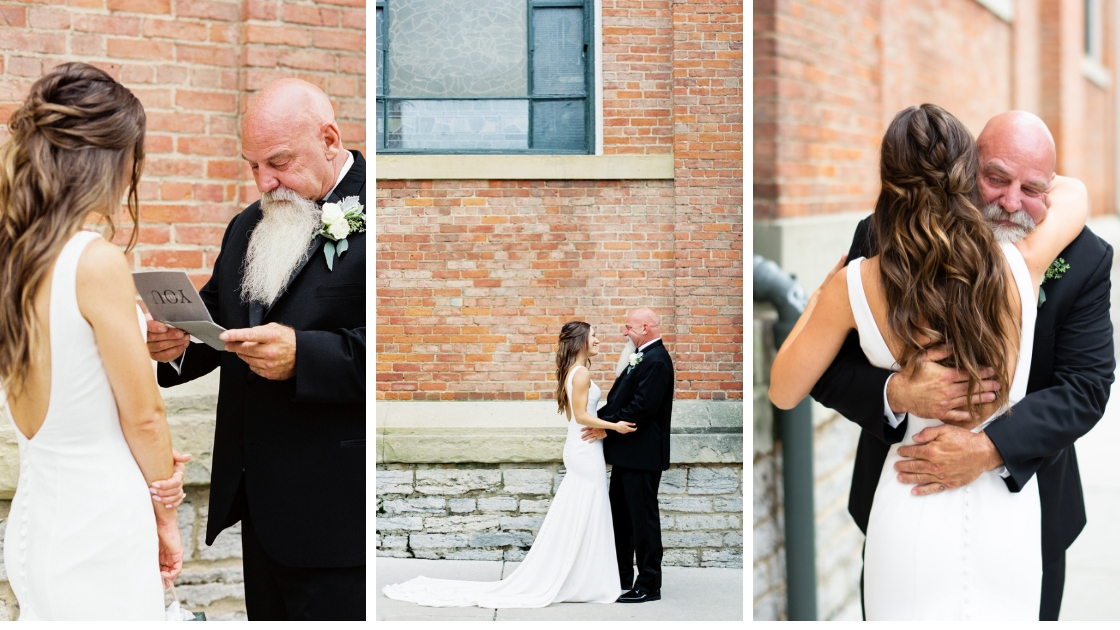 Bride and father hug on wedding day gift three different photos card hug love wedding day